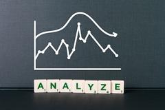 Analyze word and chart of statistic Stock Photos