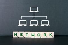 Stock Photo of network word and laptop icons