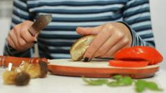 Mushroom on a chopping board Stock Footage
