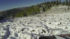Hunting in snow muzzle loader black powder shooting deer HD 0074 Stock Footage