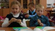 Stock Video Footage of children a lesson work plasticine modeling