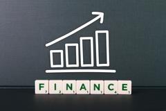 finance word and growth chart - stock photo