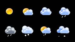 Weather icon set Stock Footage