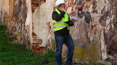 Building inspectors at old ruins episode 12 Stock Footage