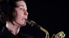Baritone sax player, close up Stock Footage