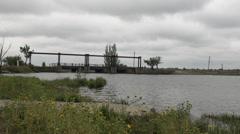 Dark clouds over the bridge Stock Footage
