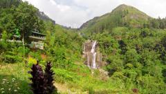 Large waterfall in the mountains. sri lanka, nuwara eliya, ramboda Stock Footage