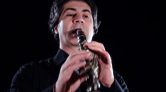 Clarinetist close up Stock Footage