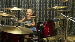 Kid with drums Stock Footage