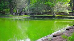 Anuradhapura, sri lanka - huge ancient swimming pool Stock Footage