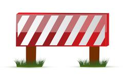 wooden barrier protecting road works - stock illustration