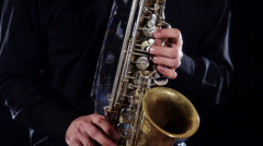 Sax player close up Stock Footage