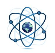 atom symbol with a globe in the middle - stock illustration