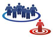 Blue model team and leader in red illustration design Stock Illustration