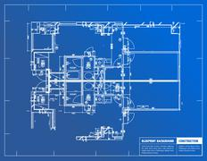 Sample of architectural blueprints over a blue background / blueprint Stock Illustration