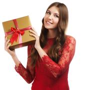 Cheerful women with a present Stock Photos