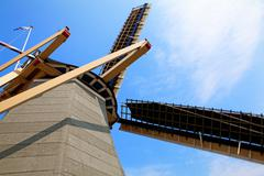 top of dutch wind mill - stock photo