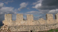 Battlements of ancient castle and clouds (1) Stock Footage