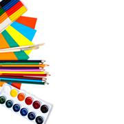 School stationery isolated over white with copyspace Stock Photos