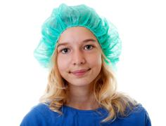 Girl with operation clothed Stock Photos