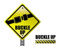 detail metal buckle up street sign isolated over a white background - stock illustration