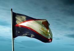 Amerikan Samoa lippu heiluttaa illalla Piirros