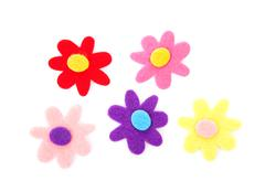 Five colorful felt flowers Stock Photos