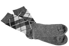 Winter warm socks with a pattern of gray Stock Photos