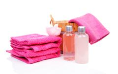 Pink accessory for spa or sauna Stock Photos