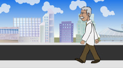 Walk Cycle of Doctor Stock Footage