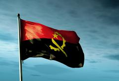 Angola flag waving in the evening Stock Illustration