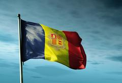 Stock Illustration of andorra flag waving in the evening