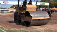Stock Video Footage of Steam Roller, Street Paver, Flatten, Construction