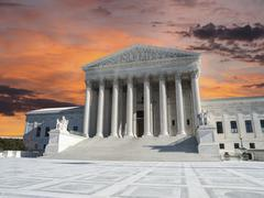 us supreme court sunset washington dc - stock photo