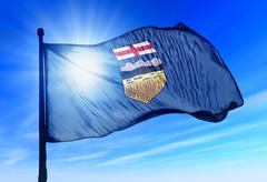 Alberta (canada) flag waving on the wind Stock Illustration