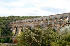 Pont du gard aqueduct, vers-pont-du-gard in south of france. Stock Photos
