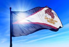 Amerikan Samoa lippu heiluttaen tuulessa Piirros