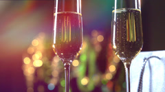 Champagne. Two Flutes with Sparkling Champagne - stock footage