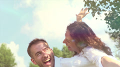 Happy Couple Having Fun Outdoors - stock footage