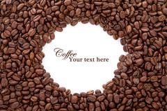 Coffee beans over white with text space Stock Illustration