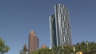 Stock Video Footage of the Bow and previous tallest building Suncor Energy Centre from city hall...