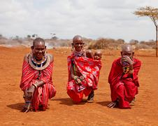 masai mara, kenya - july-2-2011: unidentified african women from masai tribe  - stock photo