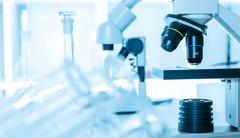 laboratory microscope lens.laboratory room - stock photo