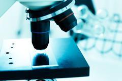 laboratory microscope lens.laboratory room - stock photo