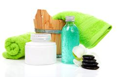 accessories for spa or sauna - stock photo