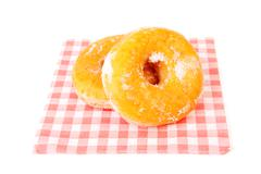 Two sugared delicious donuts Stock Photos