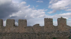 Battlements of ancient castle and clouds (2) Stock Footage