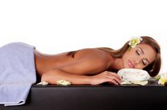 Stock Photo of female during luxurious procedure of massage