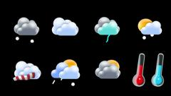 Weather icon set with alpha loop Stock Footage