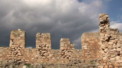 Battlements of ancient castle and clouds (3) Stock Footage